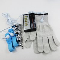 Wholesale Gloves Anal - Elastic Gloves Electric Shock Massagers Anal Penis medical themed toy kit,2016 Newest Conductor Electro Conductive Estim Gloves Conductive