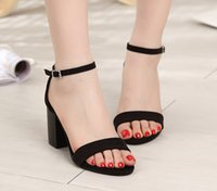 Wholesale European American Heels Shoes - Wholesale 2016 new summer women's Sandals Heels with rough suede high-heeled shoes buckle a explosion of European and American women