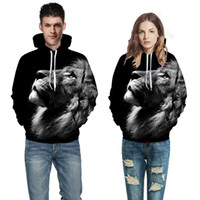 Wholesale ferocious animals - New Fashion Men Women 3d Sweatshirts Print Ferocious Lion Black Thin Autumn Winter Hooded Hoodies Pullovers Tops