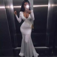 Wholesale Ever Pretty - Simple White Lace Appliques Mermaid Prom Dresses Long 2017 Ever Pretty Fashion Small Train Sexy Trumpet V-Neck Elegant Prom Dresses