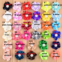 Wholesale Diy Mini Hair Bow - 2 inch handmade solid color mini satin flower with glitter button for garment trimming and hair bow diy