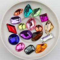 Wholesale Color Acrylic Gem Stones - new arrival 100pcs mix color   shape rhinestone Non Hotfix Sew on Rhinestones Acrylic rhinestone buttons,Sew On Stones gems DIY