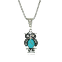 Wholesale Vintage Silver Owl Pendant - Vintage Turquoise Owl Collares Crystal Chain Statement Necklace for Women Fine Jewelry 2016