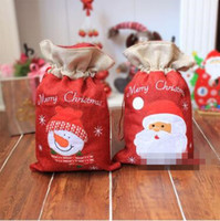 Wholesale Christmas Presents Ornaments - Christmas Gift Bag The Santa Claus Gift Present Bag Gifts Sack Ornaments Christmas Decoration Supplies Gift Wraps CCA7311 50pcs