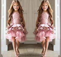 Wholesale Ivory Mini Pageant Ball Gown - Mini Flower Girls Dresses Ball Gowns Jewel Sleeveless Pageant Gowns Tiered Ruffle With Applique Cusrom Made Knee-Length Formal Party Gowns
