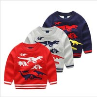 Wholesale Cotton Baby Knitwear - Baby Christmas Sweaters INS Pullover Cartoon Cotton Outerwear Knitted Coat Girls Knit Cardigan Xmas Sweatshirt Knitwear Crochet Jumper B2881