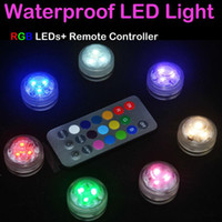 Wholesale Control For Rgb - 12pcs Lot Wedding Decoration 3 RGB LED Remote Control Mini Waterproof Submersible Led Party Lights With Battery For Halloween Xmas Party