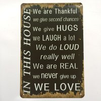 Wholesale Laugh Decor - We are thankful Hugs Laugh Love Retro Vintage Metal Tin sign poster for Man Cave Garage shabby chic wall sticker Cafe Bar home decor