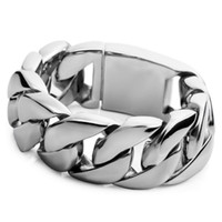 Wholesale Heavy Stainless Wrist - New Men's Large Heavy Stainless Steel Bracelet Link Wrist Silver Biker cool for boys