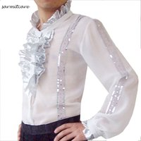 Wholesale Samba Shirts - D091 - White Male Ruffled Neck Long Sleeve Latin Dance Shirt for Men Samba Dance Costumes Tango Samba Costume Dance Clothes Latin Shirts