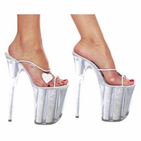 Wholesale Shape Up Sandals Women - 20cm Women's Ultra High Heel Shoes Queen Crystal Platform Shoes Heart-Shaped Party Slippers Sexy Sandals 8 Inch High Heel Shoes