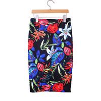 Wholesale Order Satin Flowers - Vintage Flowers print ladies middle skirts 2016 Western retro style vogue women faldas girls new fashion summer clothing mix order wholesale