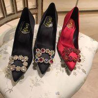 Wholesale Womens Elegant Heels - 2017 female pointed toe shoes silk color diamond stiletto high heels elegant women's banquet silk high heels womens bling bling wedding shoe