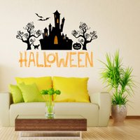 Wholesale Happy Houses - Halloween Decoration black Haunted house Happy Halloween wall sticker Creative DIY Carved Removable Windows art Sticker home Decor Wholesale