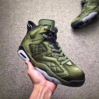 Wholesale Nylon Jacket Fabric - Air Retro 6 Flight Jacket Pinnacle Basketball Shoes Saturday Night Live Nylon Army Green AH4614-303 With Original Box 2017 best