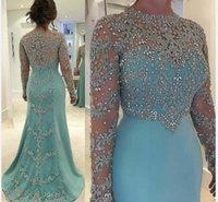 Wholesale Long Sleeves Wedding Mother - Mint Green 2017 New Mother Of The Bride Dresses Silver Lace Appliques Beaded Long Sleeves Illusion Plus Size Party Dress Wedding Guest Gowns