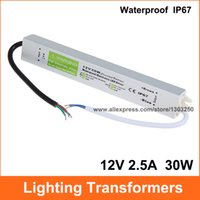 Wholesale Waterproof Led Driver Ip67 - AC DC 12V 2.5A Lighting Transformer Power Supply 12V 30W LED Driver Waterproof Adapter IP67 For Light Strip