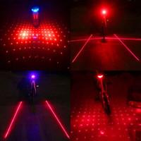 luces de advertencia de alarma al por mayor-2 Láser + 5 LED Ciclismo Bicicleta Luz trasera Luz de advertencia intermitente Alarma intermitente Tija de sillín Luz Advertencia Alerta Ray Parpadeo