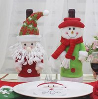 Wholesale Old Wine Bottle - 2017 new 4 style Christmas decoration products creative embroidery old snowman Christmas red wine set gift bag with bright bottles