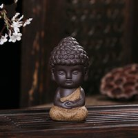 Wholesale Ceramic Furnishing Articles - Redware Buddha For Home Furnishing Tea Table Ornament Gift Creative Ceramic Little Monk Living Room Decorate Articles 6dh C R