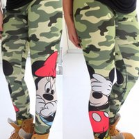Wholesale Camouflage Stretch Pants - 2016 Fashion Women Leggings Mouse Printed Cartoon Stretch Camouflage Leggings Sexy Slim Elastic Fitness Render Pencil Pants