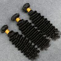 ingrosso aziende dei capelli brasiliani-Capelli ondulati brasiliani dell'onda profonda dei capelli 3 dei peli brasiliani di Wave dei 3 gruppi di formula sexy bagnati ed ondulati capelli brasiliani dell'onda profonda