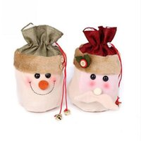 Wholesale Cute Wholesale Snowmen Decor - 2016 Newest Fashion Cute Santa Snowman Deer Style Candy Christmas Gift Bag Xmas Decor Free Shipping