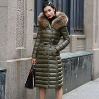 Wholesale Green Fur Hood Jackets - Real Fur Winter Down Jacket Women Hood Coat 2018 Brand New Big Raccoon Fur Collar Army Green Casual Long Slim Warm Parka S~6XL