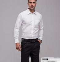Wholesale Elegant Men S Shirts - The most formal men long sleeve shirt is the high quality elegant pure white groom lapel custom wedding dress shirt