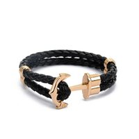 Wholesale Snake Leather Wholesale - Wholesale-High Quality PU Leather Anchor Bracelet Men Charm Arm Cuff Bracelet for Women Best Friend Gift Summer Style Fashion Jewelry