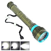 Wholesale 7x Cree Flashlight - 3-Modes Shock-proof Self-defence Underwater 200m 20000LM 7x CREE XM-L2 LED Scuba Dive Diving Bright Beam Flashlight Torch