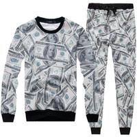Wholesale Dollar Hoodie - Funny Fashion Men Women The Money Dollar Print 3D Hoodie + Pants Unisex Tracksuits Emoji Printed Joggers Outfit Sweatshirts Sweatpants Set