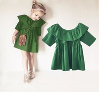 vestidos de tutú verde al por mayor-Lindo vestido de muñeca 2016 SpringSummer ropa para niños Vestido de niña de moda TuTu Baby Girls vestido de fiesta de madera verde 1-4Y