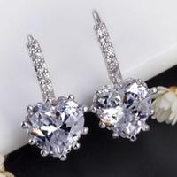 Wholesale Aretes Zirconia - Wedding CZ Diamond Sapphire Jewelry Stud Earrings Blue Crystal Earring For Women Blue Stones Ear Clips Cuff Aretes De Mujer