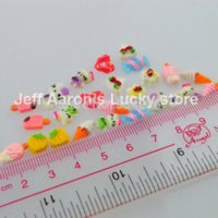 Wholesale Nails Art Ice Cream - 60PCS 3D Ice Cream Candy Nail Resin Rhinestone For Fasle Nail Art UV Gel Tips And Cell Phone Decorations Design Tools