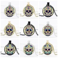 Wholesale Thanksgiving Skull Glasses - Wholesale Men Sugar Skull Statement Necklace Chain Handmade Glass Cabochon Skull Choker Women Necklace Pendants Gifts