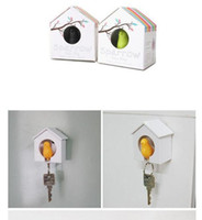 Wholesale Sparrow House Key Chain Ring - Hot selling Sparrow Bird House Nest Whistle Key Holder Chain Ring Keychain Holder Boxed 5pcs wholesale