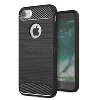 Wholesale Iphone Covers Rubber Skin Gel - Carbon Fiber case For Iphone 7 Iphone7 Plus 6 6S 5 5S 5SE Rugged Armor Carbon fiber Brushed Skin Soft TPU Gel Rubber Back cover case 100pcs