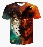 Wholesale Galaxy Print T Shirts - tshirt Men's summer tshirt 3d print animals wolf space galaxy t-shirt harajuku hip hop t shirt free shipping G1073