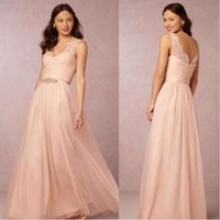 Wholesale long short prom dress junior - Sexy V Neck Backless Lace Applique Tulle Bridesmaid Dresses 2016 Elegant Beaded Sash Full Length Junior Formal Party Gowns Prom Gowns BA3014