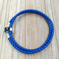 Wholesale leather bracelets for sale - Group buy Authentic Silver Blue Double Woven Leather Bracelet Fit European Pandora Style Jewelry Charms Beads Handmade CSB D