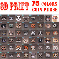 Wholesale Cluth Purse Wholesale - 75 Colors 3D Printing Dogs & Cats Coin Purses For Children Cute Animals Print Cluth Bags Women Soft Plush Mini Wallets Girls Pouch