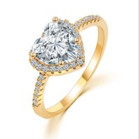 Charms Crystal Big Heart Ring Forme Gold Color Micro Pave Solitaire Ring CZ Wedding Engagement Rings for Women