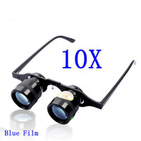 Wholesale Binoculars Glasses - Brand BIJIA 10X Magnification Blue Film Binoculars 10x34mm Opera Fishing Glasses Football Game Telescope With Package Free Shipping !!