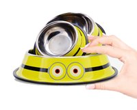 Travel Pet Cat Bowls de aço inoxidável para cães, Minion Pattern Dog Bowls Outdoor Drinking Water Fountain Pet Dog Fornecedor de alimentos para pratos