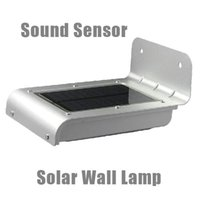 Atacado-Novo IP64 Impermeável 16 LED Solar Power Sound + Ray Sensor Painel Outdoor Street Garden Wall Lamp Luz