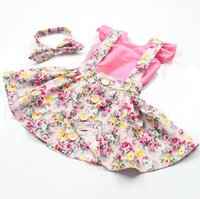 Wholesale Girls Three Piece Dresses - Girls' suits baby outfits floral set headbands tank tops dresses BH2049