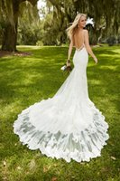 Wholesale Sex Elegant Dresses - Modest Backless Lace Wedding Dresses 2016 Spaghetti Appliques Mermaid Sex Back Court Train Elegant White Bridal Gowns Vestidos De Noiva