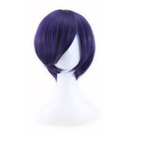 Wholesale Anime Wigs Purple - WoodFestival Tokyo Ghoul Kirishima Dong Xiang cosplay wig men short straight wig dark purple anime wig synthetic fiber hair