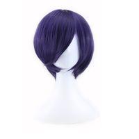 ingrosso parrucche da uomo anime-WoodFestival Tokyo Ghoul Kirishima Dong Xiang parrucca cosplay uomini breve parrucca diritta parrucca anime viola scuro capelli sintetici in fibra